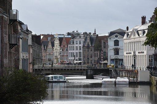 Gent, Channel, Belgium, River, Building, Tourism, City
