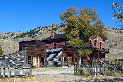 Downtown Bannack Buildings, Hotel Meade, Montana, Usa