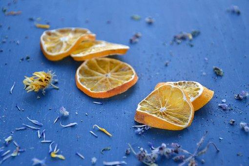 Citrus, Orange, Mandarins, Wedges, Dry, Dry Grass