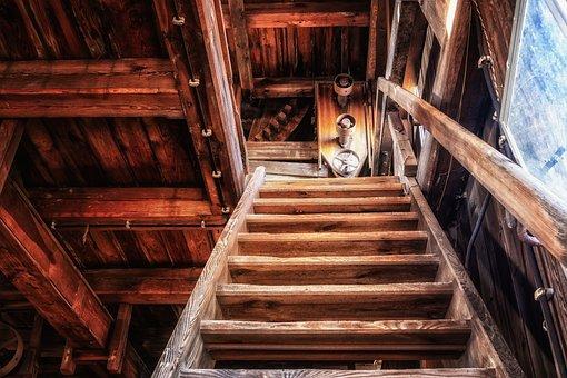 Stairs, Steep, Wood Stairs, Workshop, Gradually