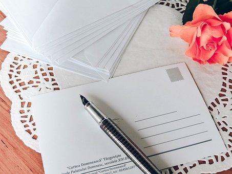 Postcard, Pen, Write, Writing, Correspondence, Old