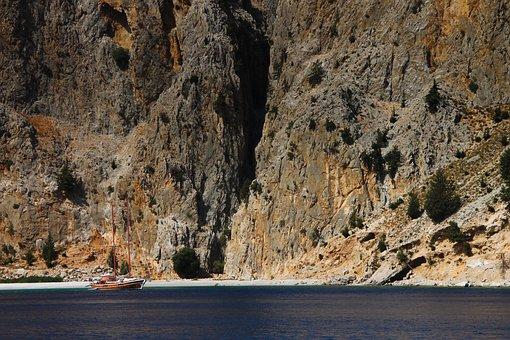 Rhodes, Afandou, Mediterranean, Sea, Ship, Rock, Coast