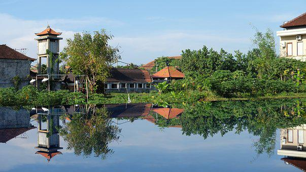 Reflection, House, Sk, Architecture, Bali, Ancient
