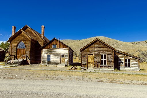 Houses And Methodist Church, Montana, Bannack