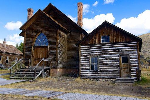 Bannack Methodist Church And A Home, Montana, Bannack