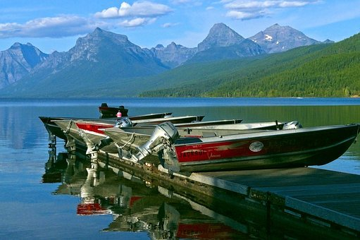 Boats On A Dock, Boats, Dock, Mountains, Lake, Mcdonald