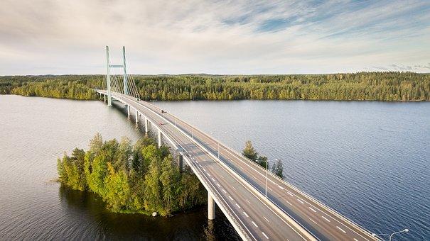 Finnish, Bridge, Star Of The Cape, Heinola, Lake, Drone