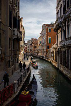 Venice, Channel, Water, Tourists, Sky, Gondola