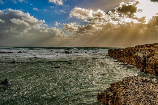 Beach, Rocky Coast, Sea, Sky, Clouds, Dramatic