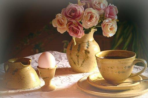 Breakfast Table, Still Life, Decoration, Flowers