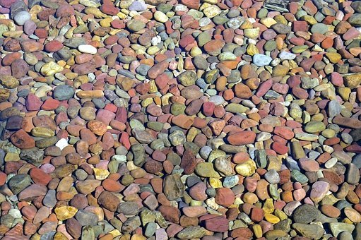 Pebbles Under Water, Stones, Lake, Mcdonald, Glacier