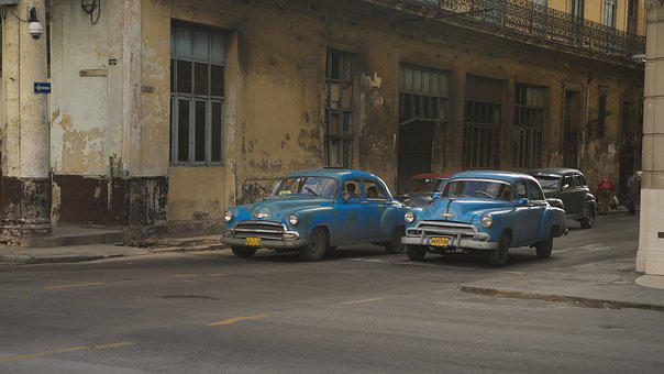 Cuba, Havana, Street, Vehicle, Blue, Tourism