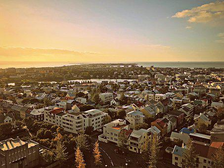 Sky, Perspective, House, Iceland, Sunset, Sunrise, Town