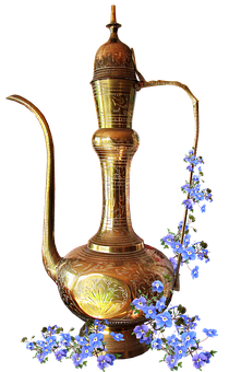Brass, Kettle, Ornament, Greeting Card, Blue Flowers