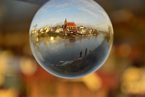 Ball, Glass Ball, Backdrop, City, River, Landscape