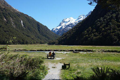 New Zealand, Nature, Mountains, Landscape, Path, Bench