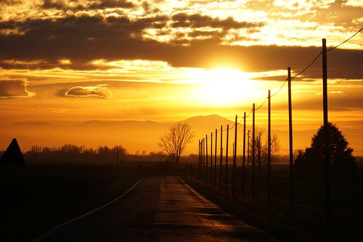 Road, Sunset, Perspective, Light