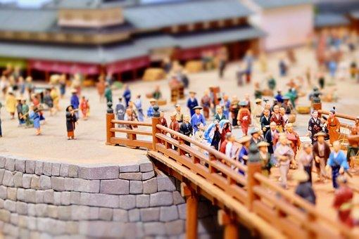 Figure, Miniature, Town, Bridge, Busy Street, History