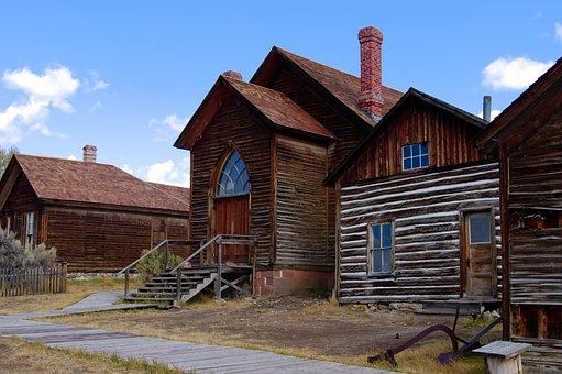 Houses And Bannack Methodist Church, Montana, Bannack