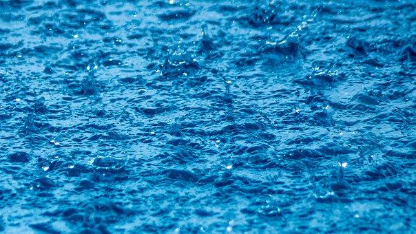 Rain, The Water Surface, Rough, Blue, Drop, The Tropics