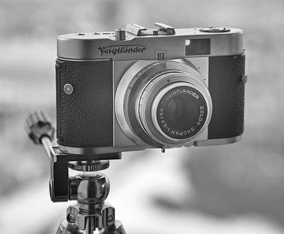 Vintage Camera, Retro, Black And White, Photography