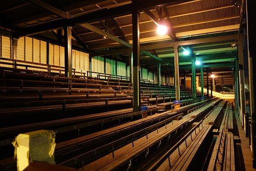 Stadium, Bleachers, Seats, Midnight, Haunted, Footy