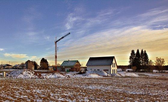Crane, Clouds, Site, Baukran, Sky, Housebuilding, Snow
