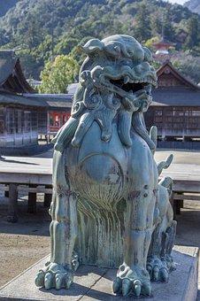 Japan, Miyajima, Lion, Statue, Temple