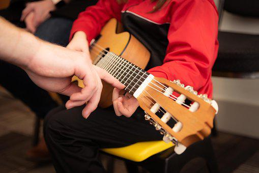 Guitar, Studying, Playing, Showing, Teaching, Lesson