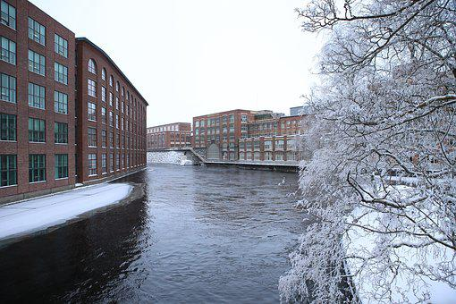 Finnish, Tampere, Industry, Winter, Frost, Snow, Water