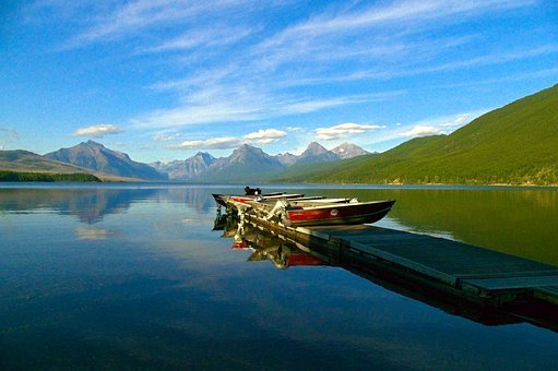 Boats Stored On A Dock, Water, Lake, Mcdonald, Glacier