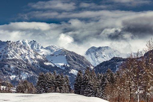 Mountains, Alpine, Allgäu, Winter, Landscape, Nature