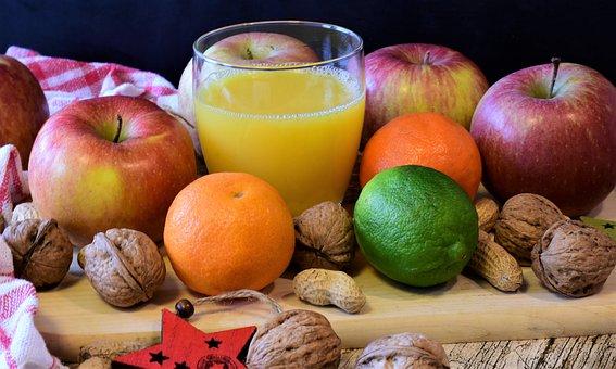 Fruit, Apple, Tangerines, Nuts, Orange Juice, Fresh