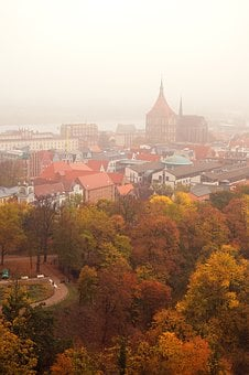 Rostock, Outlook, Fog, Mood, Architecture, Churches