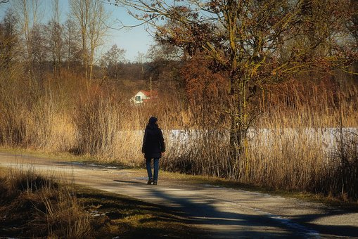 Woman, Walk, Winter, Cold, Ice, Nature, Away, Person