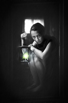 Fear, Girl, Woman, Black And White, Bw, Lantern