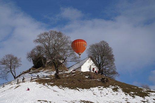 Winter, Hotairballoon, Airballoon, Hill, Cold, Freshair
