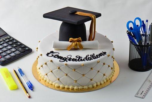 Graduation Cake, Cake, Dessert, Delicious, Sweet, Bake