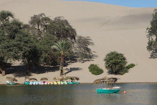 Peru, Desert, Oasis, Sand, Landscape, Huacachina, Dry