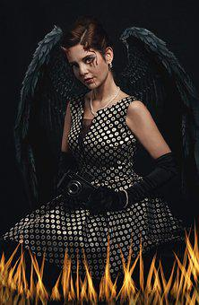 The Devil, Woman, Flame, Wings, Fallen Angel, Dark