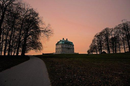 Castle, Denmark, Forest, Hermitage, Orange, Pink