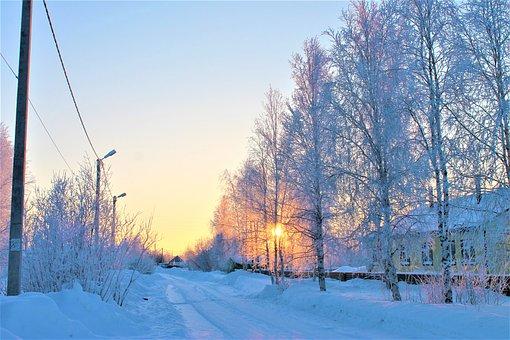 Sunset, Road, Village, Sky, Winter, Landscape