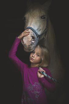 Horse, Child, Love, Foal, Rider, Animal, Dark