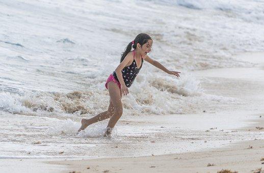 People, Person, Girl, Running, Ocean, Waves, Foamy