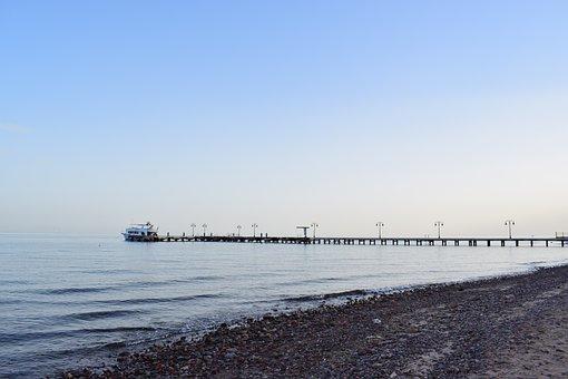 Sea, Beach, Coast, Horizon, Red Sea, Pier, Egypt