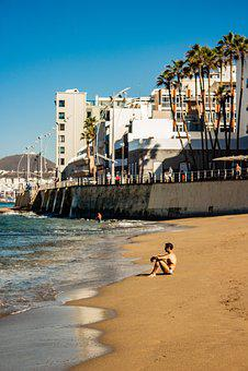 Man, Seaside, Beach, Sand, Sea, Holiday, Blue