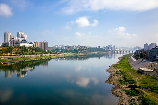 River Banks, The Scenery, City, Sky, Natural, Water