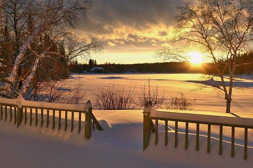 Sunset, Landscape, Nature, Snow, Cold, Gel, Twilight