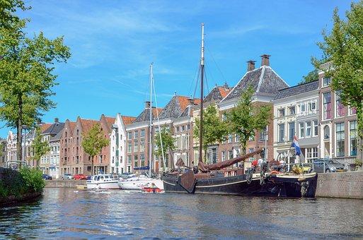 Groningen, Town, Canal, Street Scene, Old, Center