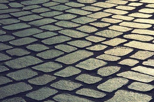 Cobblestones, Sunset, Road, Stones, Pattern